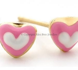 Pink white heart studs