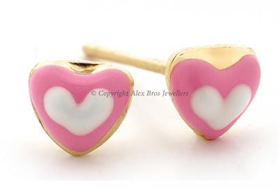 Pink white heart studs