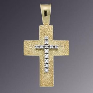 14KT 2TONE CZ SET CROSS