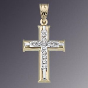 18KT 2TONE CZ SET CROSS
