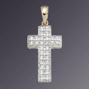 18KT 2TONE DIAMOND SET CROSS 2