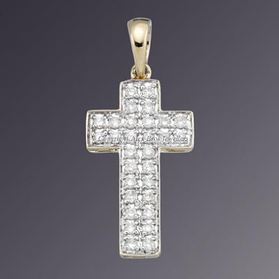 18KT 2TONE DIAMOND SET CROSS 2