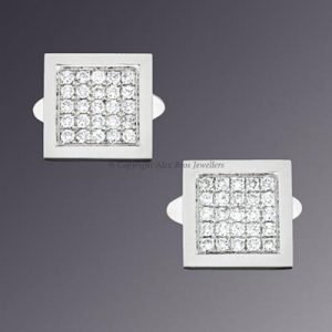 18KT White Gold Diamond Set Cufflink