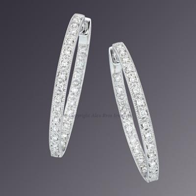 18KT White Gold Diamond Set Hoop Earrings