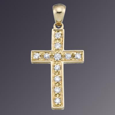 18KT YELLOW GOLD DIAMOND CROSS 1