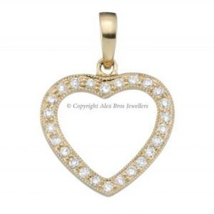 18KT YELLOW GOLD DIAMOND SET HEART PENDANT 1