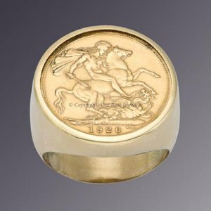 18KT YELLOW GOLD FULL ENGLISH SOVEREIGN RING 1