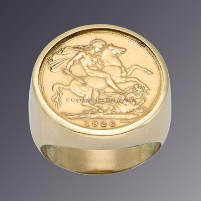18KT YELLOW GOLD FULL ENGLISH SOVEREIGN RING 2