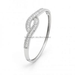 Bangle Set with Round Brilliant Cut Cubic Zirconia