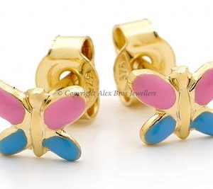 Blue Pink Butterfly studs