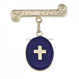 Cross Blue Lapis Mataki Brooch