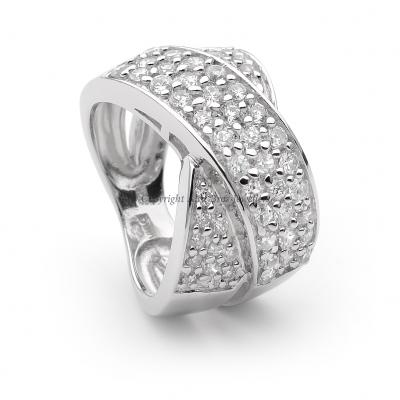 Cross Over Ring Set with Round Brilliant Cut Cubic Zirconia 2