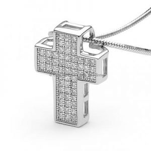 Cross Pendant and Chain Pave Set Brilliant Cut Round Cubic Zirconia