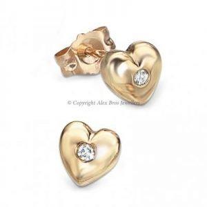 DIAMOND SET GOLD LOVE HEART STUDS