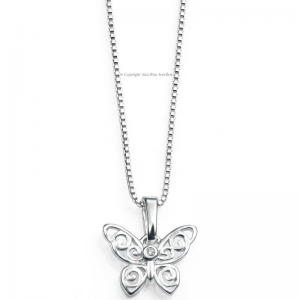 DIMOND-SET-SILVER-CUT-OUT-BUTTERFLY-NECKLACE