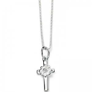 DIMOND-SET-SILVER-FLOWER-CROSS-NECKLACE