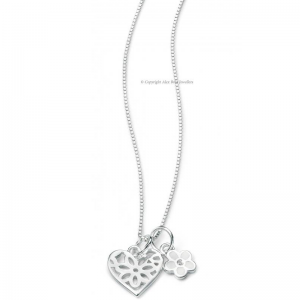 DIMOND-SET-SILVER-LOVE-HEART-AND-FLOWER-NECKLACE
