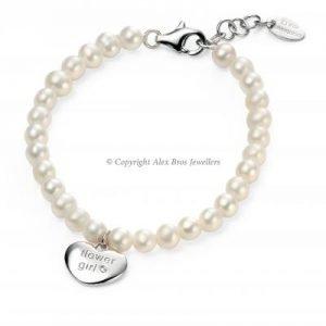 Diamond Set Fresh Water Pearl Solid Heart Bracelet