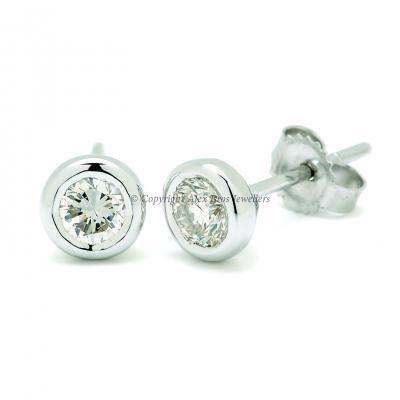 Diamond Bezel Set Earstuds