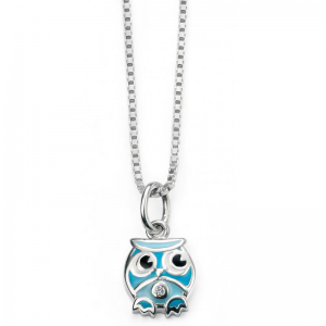 Diamond SET BLUE OWL NECKLACE