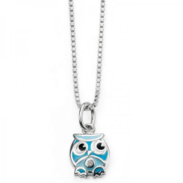 Diamond SET BLUE OWL NECKLACE