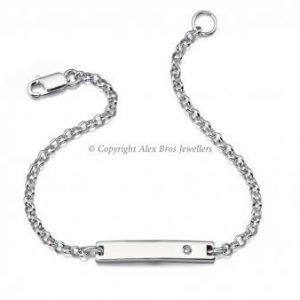Diamond Set Chain ID Bracelet