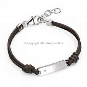 Diamond Set Silver ID Bracelet With Leather Straps