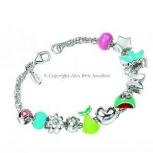 Diamond Set Slide Through Charm Bracelet