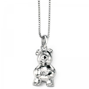 Diamond set billy bear silver necklace