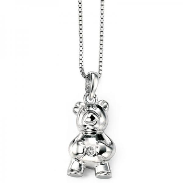 Diamond set billy bear silver necklace