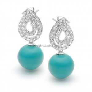 Drop Earrings Set with Brilliant Cut Cubic Zirconia and Turquoise