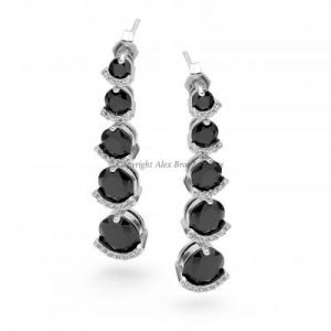 Drop Earrings Set with Round Brilliant Cut Cubic Zirconia
