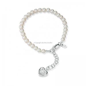 Freshwater Pearl Cut Out Heart Bracelet