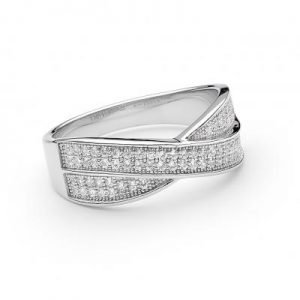 Ladies Cross Over Ring Pave Set with Brilliant Round Cut Cubic Zirconia