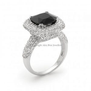 Ladies Ring Set with Brilliant Round Cut Cubic Zirconia and Cushion Cut Black Cubic Zirconia