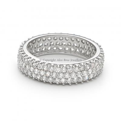 Pave Eternity Ring Set with Brilliant Round Cut Cubic Zirconia