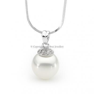 Pearl Pendant with Brilliant Round Cut Cubic Zirconia Chain Set