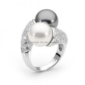 Pearl Ring Set with Round Brilliant Cut Cubic Zirconia