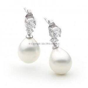 Pearl and Brilliant Round Cut Cubic Zirconia Earrings