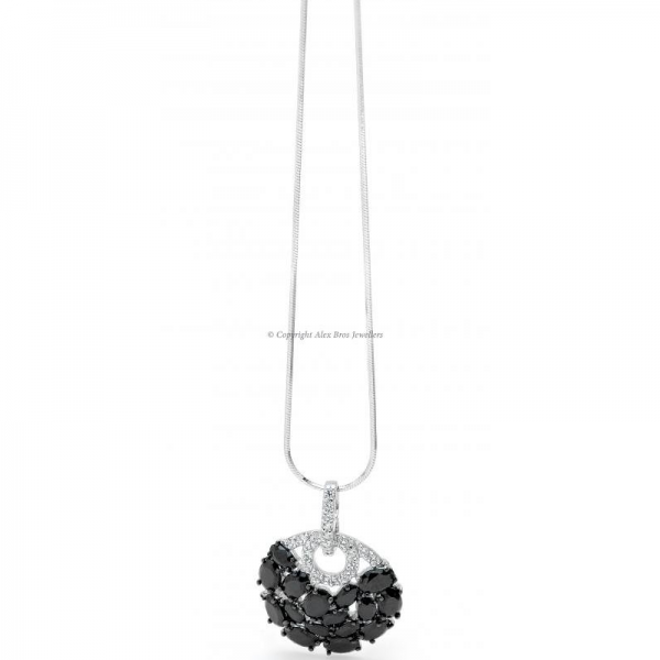 Pendant and Chain Set with Round Brilliant Cut Cubic Zirconia and Black Oval Cut Cubic Zirconia