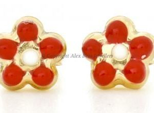 Red Daisy Studs