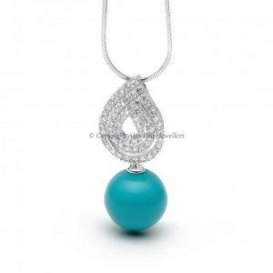 Turquoise and Round Brilliant Cut Cubic Zirconia Pendant and Chain 1