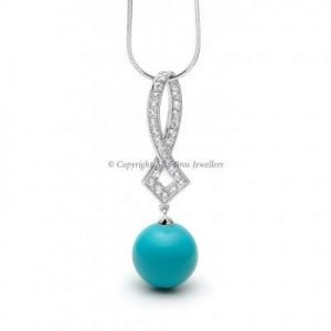 Turquoise and Round Brilliant Cut Cubic Zirconia Pendant and Chain 2