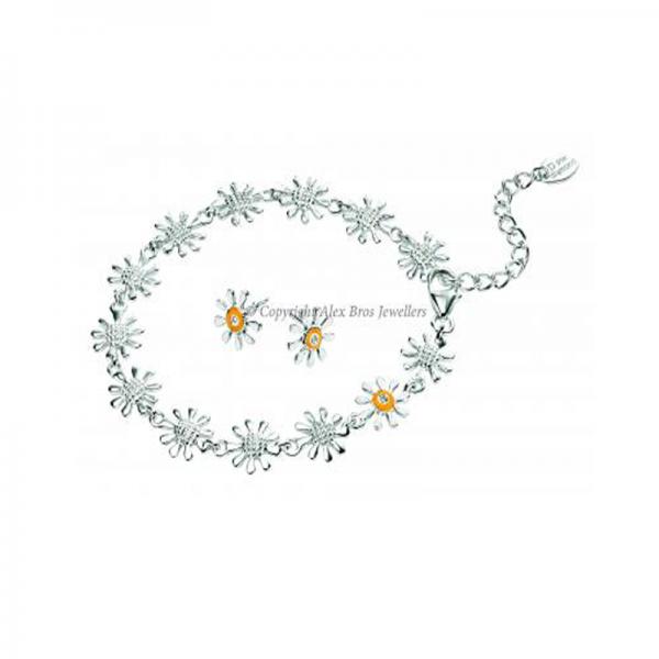 Diamond Set Daisy Bracelet And Studs