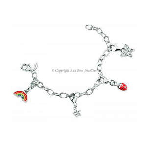 Diamond Set Four Charm Bracelet