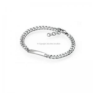 Diamond Set Silver ID Bracelet