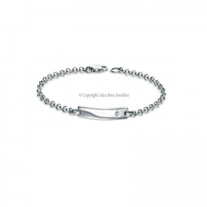 Diamond Set Silver ID Bracelet