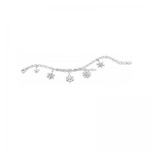 Diamond Set Star And Snowflake Silver Charm Bracelet