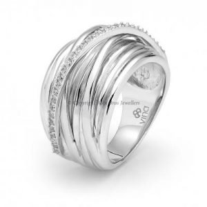 Wire Ring Set with One Row of Round Brilliant Cut Cubic Zirconia