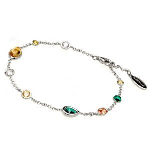 B12946-RH-RHODIUM-MIXED-GEMSTONE-BRACELET